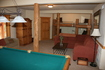 Truckee vacation home rec room with pool table and bunk beds